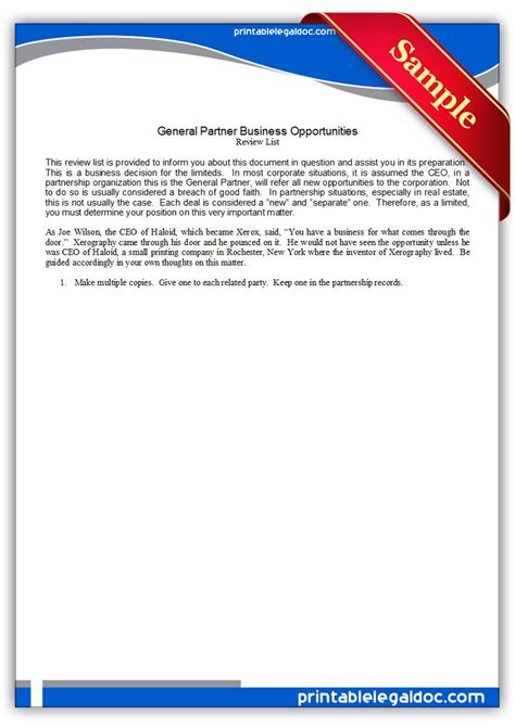 free printable general partnership business opportunities