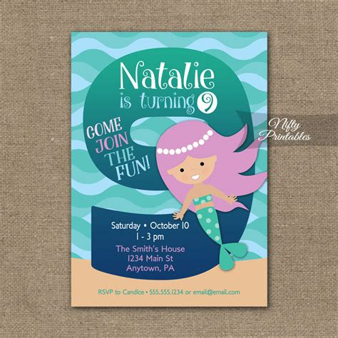 free printable birthday invitations 9 years old 9th birthday invitation mermaid birthday invitations