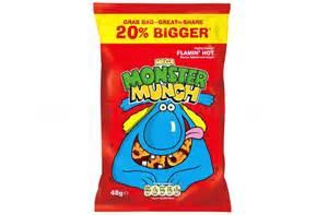 monster munch mega flamin grab bag 30 packs per box