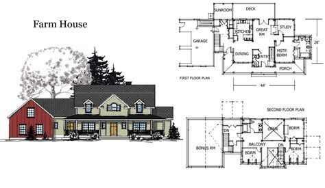 Barn House Combination Plans Farm   Home Building Plans