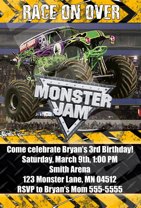pictures of monster jam trucks monster jam monster trucks birthday party by digipopcards
