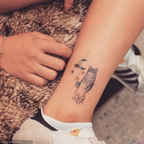 脚腕上彩色的女神纹身小清新猫纹身月亮纹身图案