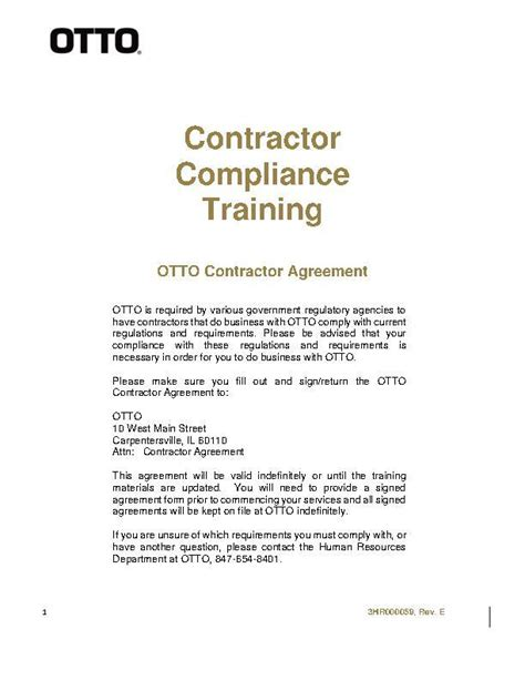 Contractor Compliance Training Contractor Agreement Form Conflict Minerals Compliance Letter Template