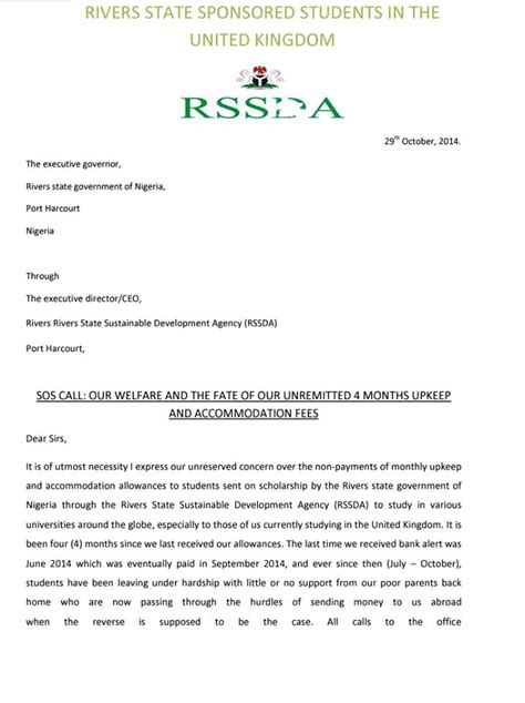 Scholarship Letter Of Appeal Sos Appeal From Students On Rivers State Scholarship Politics Nigeria