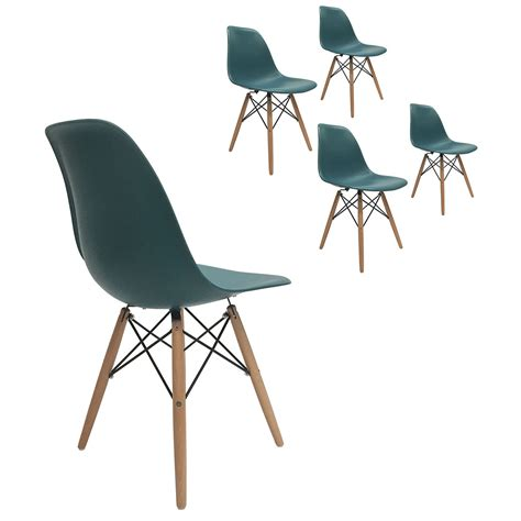 Molded Plastic Dining Chairs Set Of 4 Eiffel Molded Plastic Side Dining Chairs Eames Dsw Replica Turquoise Ebay