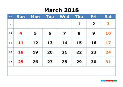 Calendar 2018 With Week Numbers Pdf Printable Calendar March 2018 With Week Numbers Pdf Image