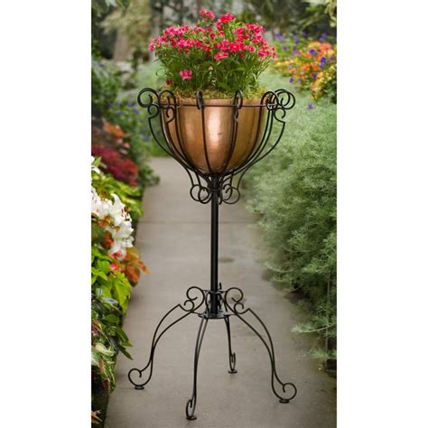 Rod Iron Planters by Fishbowl Copper Wrought Iron Pole Planter Www