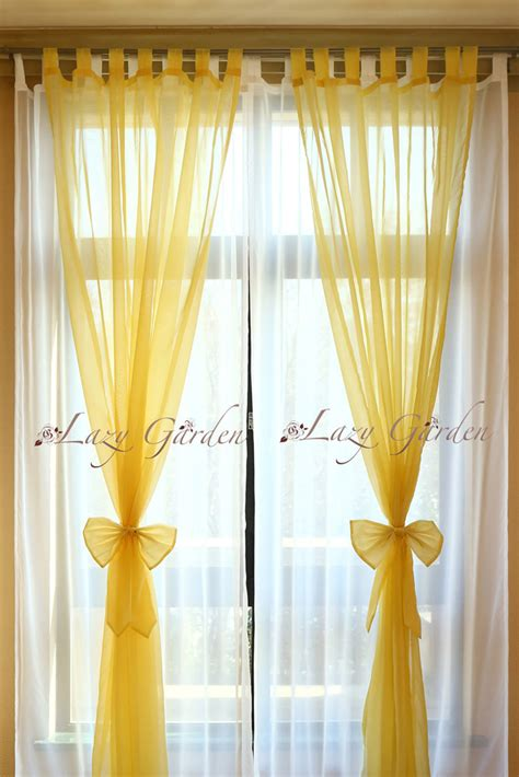yellow white curtains free shipping european style solid color voile window