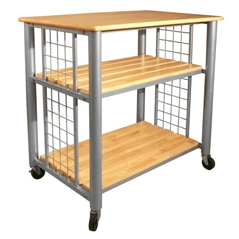 hardwood top and shelves on rugged steel cart
