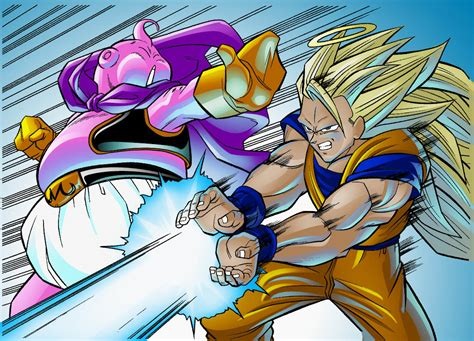imagenes de goku vs kid buu goku vs buu by thenass on deviantart