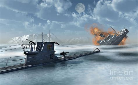 cartoon u boat a german u boat attacking and sinking digital art by