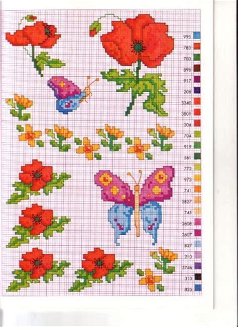 fiori a punto croce schemi gratis fiori papaveri farfalla magiedifilo it punto croce