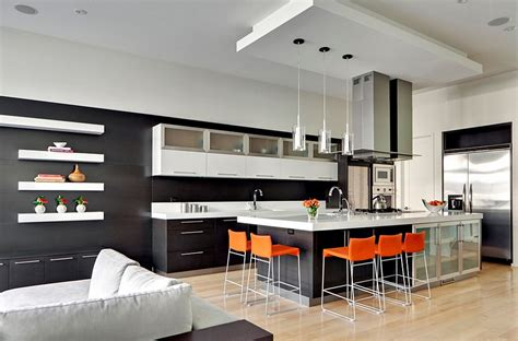 Minimalist Bar Design Orange And Black Interiors Living Rooms Bedrooms And