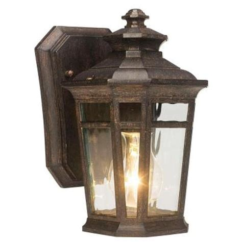 landscape lighting home depot waterton wall mount 1 light outdoor ridge bronze lantern