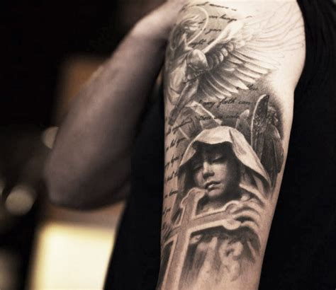 classy sad angel with cross tattoo on half sleeve
