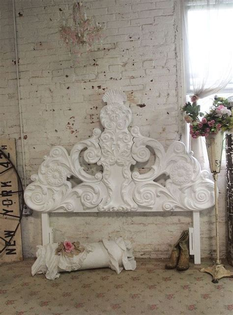 Shabby Chic Headboard Painted Cottage Chic Shabby White Headboard Headboard Bd23