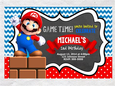 mario birthday card template mario brothers birthday invitation chalkboard chevron