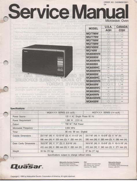 Quasar Mq7769w Mq649w Microwave Oven Service Operating Manual