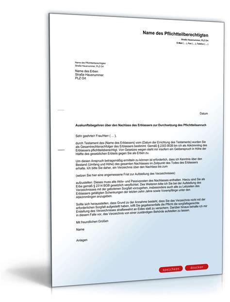 Musterbrief Schreiben Auskunftsanspruch Pflichtteilsberechtigten Gegen Den Erben Muster Zum