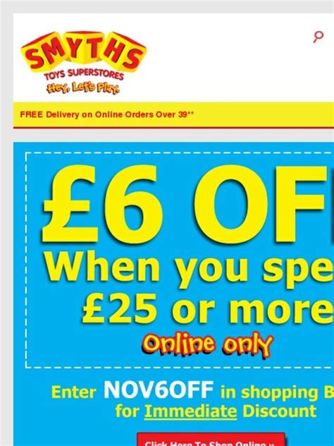 Smyths Gift Card Online - smyths toys hq free 163 6 money off voucher when you spend 163 25 or more now plus 25
