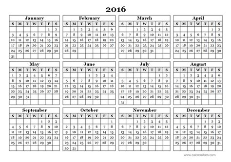 printable calendar 2016 entire year 2016 yearly calendar template 09 free printable templates