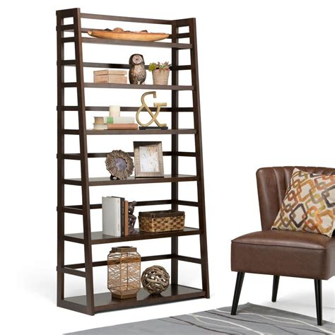 Ladder For Bookcase Simpli Home Acadian Tobacco Brown Ladder Bookcase Axss008kdw The Home Depot