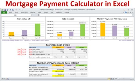 mortgage payment calculator excel template mortgage calculator with taxes insurance pmi hoa