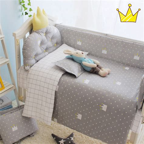 Black Toddler Bedding Set 3pcs Set Crib Bedding Set 100 Cotton Baby Bedding Set Black Tree Gary Clouds Yellow Crown