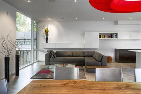 contemporary house design in minimalist zen style harmonized with red accents