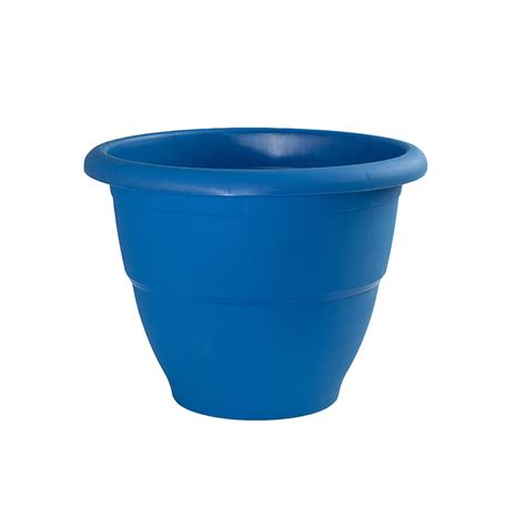 Lowes Outdoor Planters by Shop Garden Treasures 20 5 In X 15 In Blue Plastic