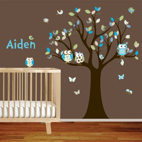 Nursery Room Wall Decals Boy Owl Nursery On