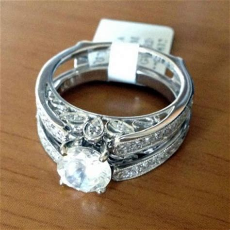 14kt white gold diamonds antique vintage cathedral ring