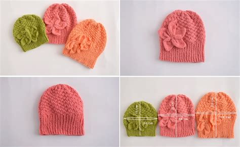 diy knit beanie beanie in different sizes with flower ornament diy