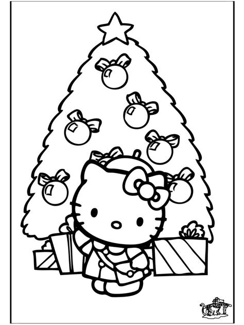 hello kitty christmas tree coloring page christmas tree hello kitty coloring page cute pinterest
