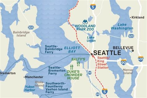 seattle map state maps visit seattle