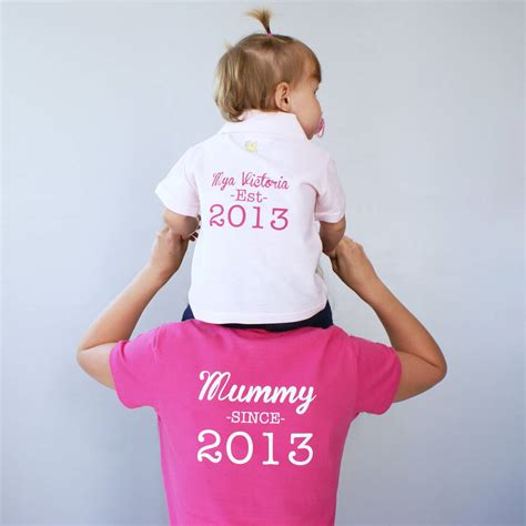 personalised mummy and baby polo shirt set by sparks and