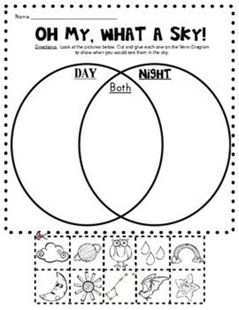 day and night coloring page for kindergarten day and night sky picture sort venn diagram