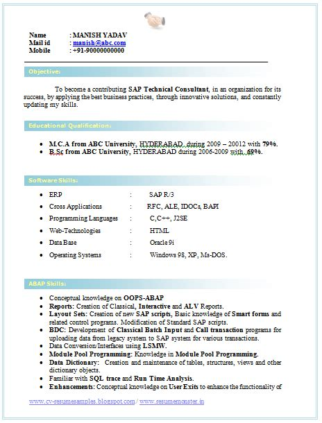 Resume Format Doc For Fresher Bca Professional Curriculum Vitae Resume Template For All Seekers Sle Template Of An