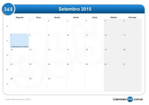 Calendario Setembro 2015 Calend 225 Setembro 2015