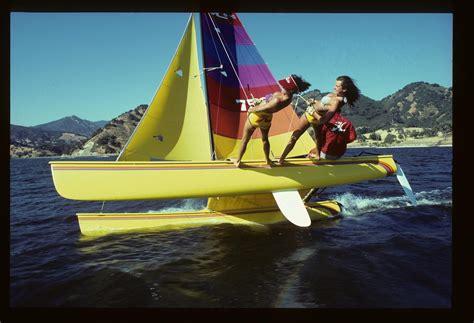 catamaran flying a hull flying hull hobie 18 boomer hobie cat through the
