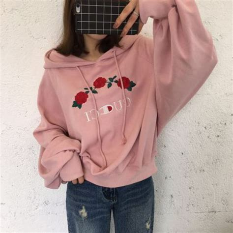 Jaket Sweater Flower Sweater Casual sweater pink girly fashion style trendy hoodie