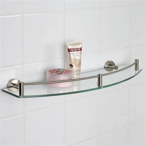 Metal And Glass Bathroom Shelf Bathroom Ideas Thick Clear Tempered Glass Shelves For