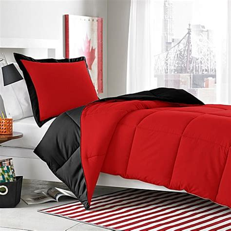 Micro Splendor Red Black Reversible Comforter Set Bed