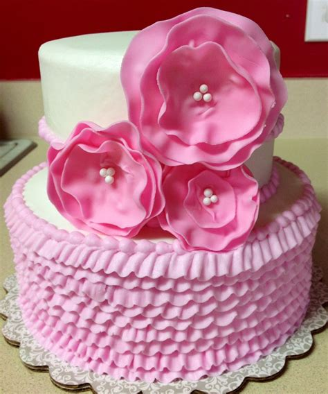 girl birthday cake buttercream  fondant flowers  nev