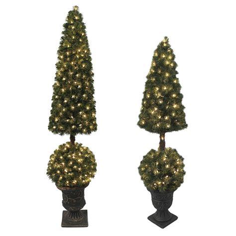 pre lit outdoor trees premium pre lit artificial topiary tree indoor outdoor