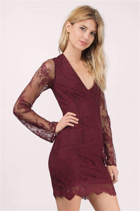 Wine Bodycon Dress Wine Dress Scallop Dress Wine