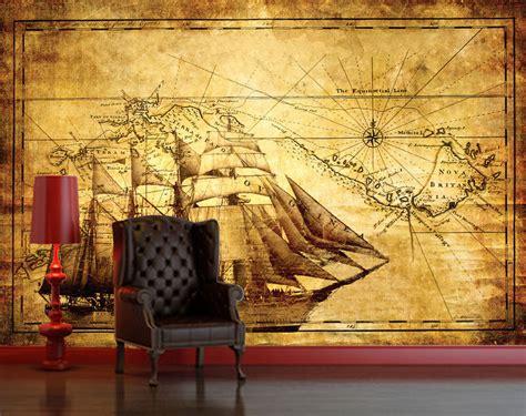 classic wallpaper murals vintage antique explorer map decorating wallpaper mural