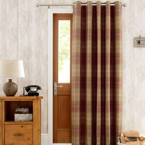 door curtains highland check wine lined eyelet door curtain dunelm