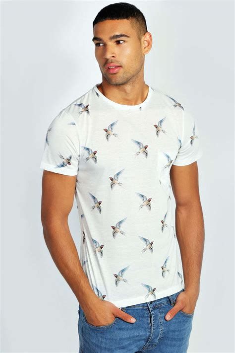 boohoo mens sleeve crew neck bird print top t shirt
