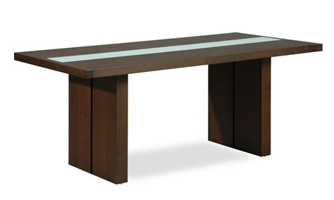 contemporary rectangular dining table with glass stripe